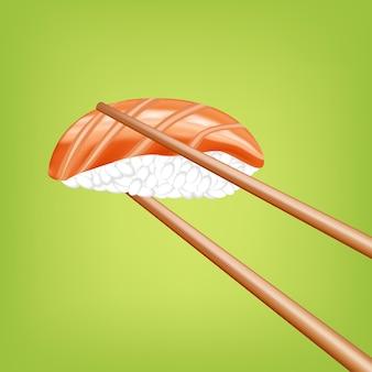 Sushi mit stäbchen im 3d-design