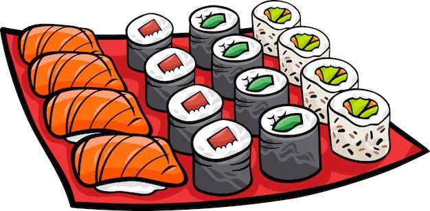 Sushi mittagessen cartoon illustration