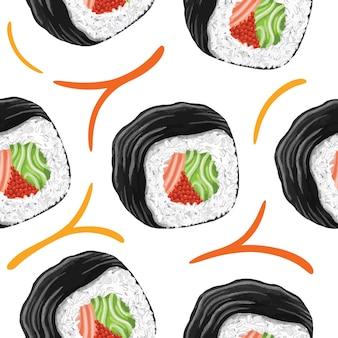 Sushi nahtloses muster im flachen design-stil