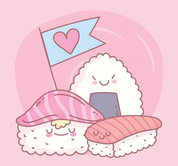 Sushi nigiri maki roll und reis roll menü restaurant essen süß