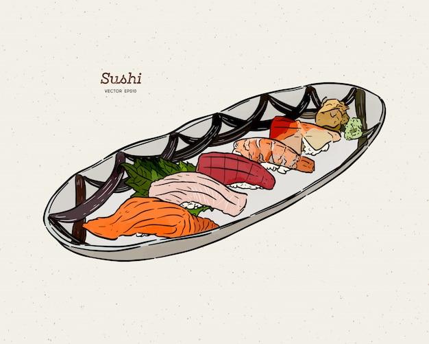 Sushi nigiri set skizze des handabgehobenen betrages