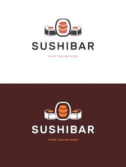 Sushi-restaurant-emblemlogo-schablonen-vektorillustration.
