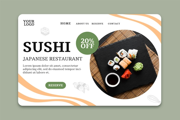 Sushi restaurant landingpage vorlage