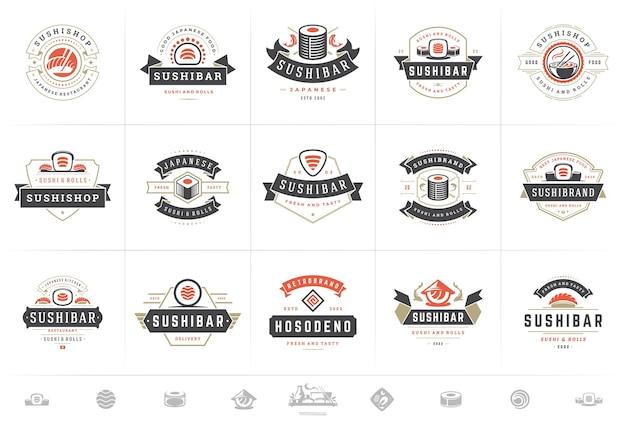 Sushi restaurant logos und abzeichen gesetzt