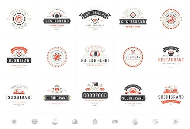 Sushi restaurant logos und abzeichen setzen japanisches essen mit sushi lachsrollen silhouetten vektor