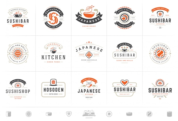 Sushi restaurant logos und abzeichen setzen japanisches essen mit sushi lachsrollen vektor-illustration