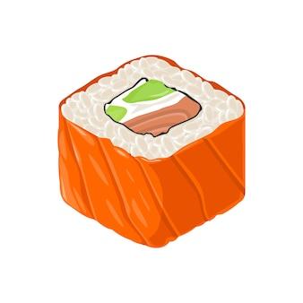 Sushi-rolle philadelphia mit fisch, frischkäse, avocado. auf weißem hintergrund isoliert. flache farbabbildung.