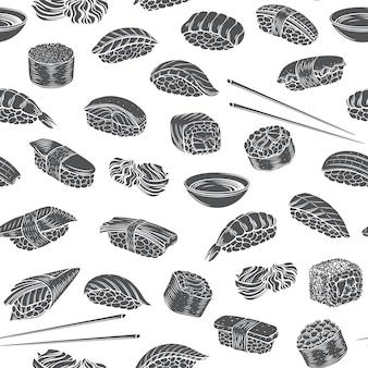 Sushi-rollen nahtlose muster monochrome glyphe isoliert gravierte stil