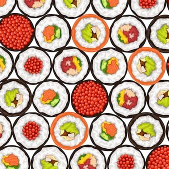 Sushi rollt draufsicht