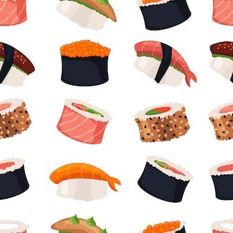 Sushi rollt nahtloses muster des sashimimeeresfrüchte-fischreises