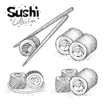 Sushi-sammlung in der hand gezeichnet