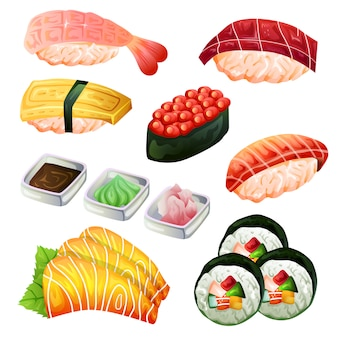 Sushi-satz japan traditionelles küchenikonenobjekt