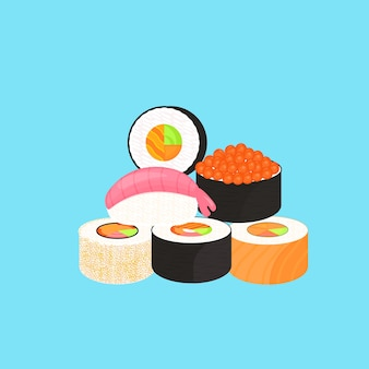 Sushi-set. brötchen mit kaviar von rotem fisch, nigiri mit garnelen. traditionelles japanisches essen.