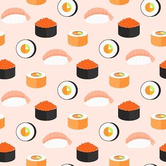 Sushi-set, brötchen mit lachs, nigiri mit garnelen, maki. nahtloses muster des traditionellen japanischen essens.