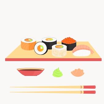 Sushi-set, brötchen mit lachs, nigiri mit garnelen, maki. traditionelles japanisches essen.