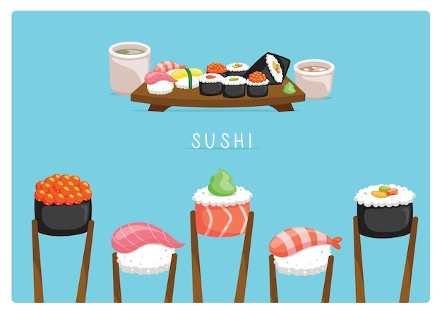Sushi-set-layout mit miso-suppe und ocha-tee