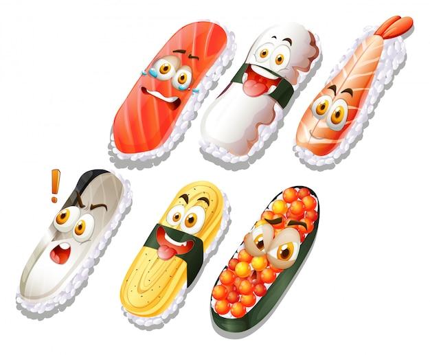 Sushi-set mit gesichtern