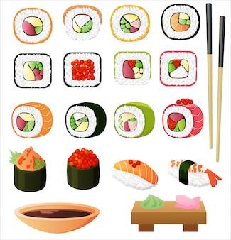 Sushi set mit sojasauce und stäbchen.