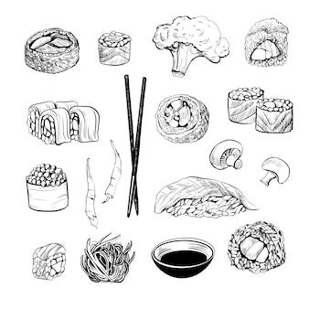 Sushi-set. skizze und aquarell