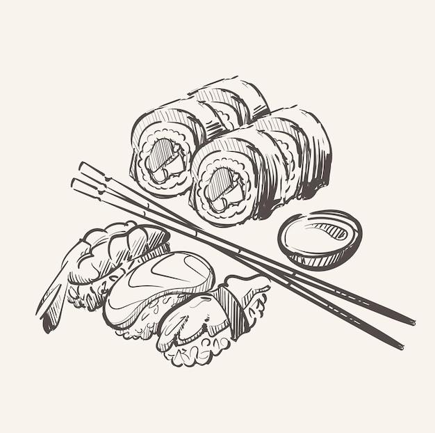 Sushi-set und rolle mit essstäbchen und sauce skizze