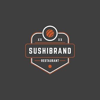 Sushi shop logo vorlage lachs roll silhouette mit retro-typografie