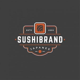Sushi-shoplogoschablonenlachsrollenschattenbild mit retro- typografievektorillustration