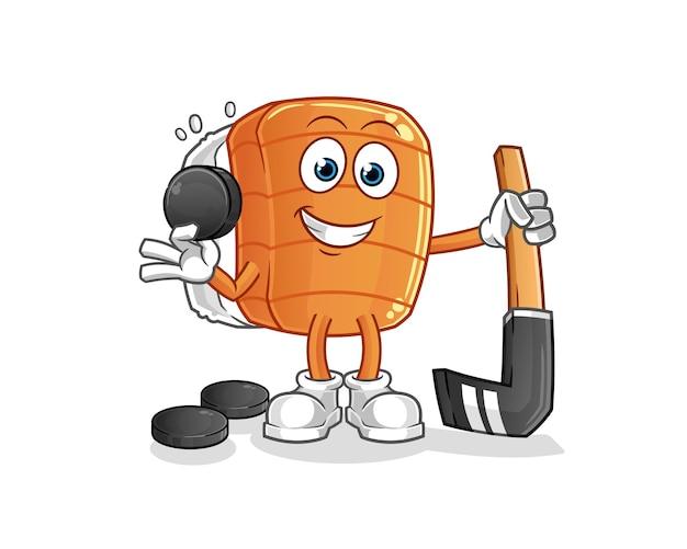 Sushi spielt hockey. zeichentrickfigur