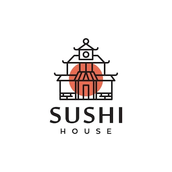 Sushi traditionelles japan haus symbol logo design