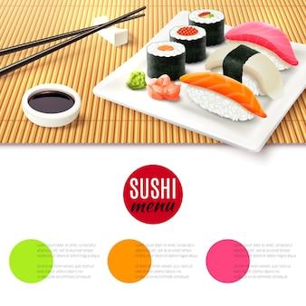 Sushi und bambusmatte