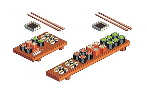 Sushi und brötchen auf einem holzbrett mit japanischen essstäbchen und sojasauce