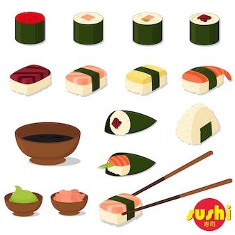 Sushi und brötchen gesetzt. sojasauce und sushi-rolle. japanisches essen.