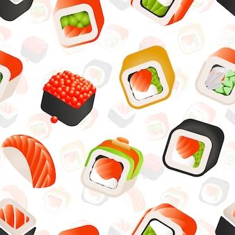 Sushi und brötchen nahtloses muster