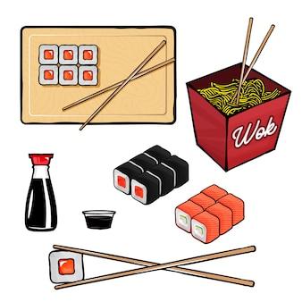 Sushi und brötchen verwandte gegenstände und gegenstände. wok, sushi, brötchen, sojasauce, essstäbchen
