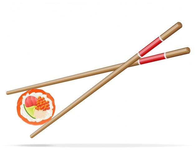 Sushi und essstäbchenvektorillustration