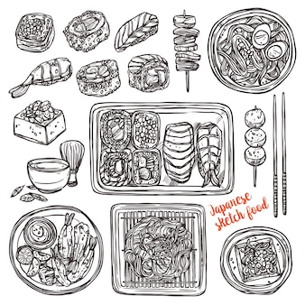 Sushi und japanisches handgezeichnetes essen. skizzenstil