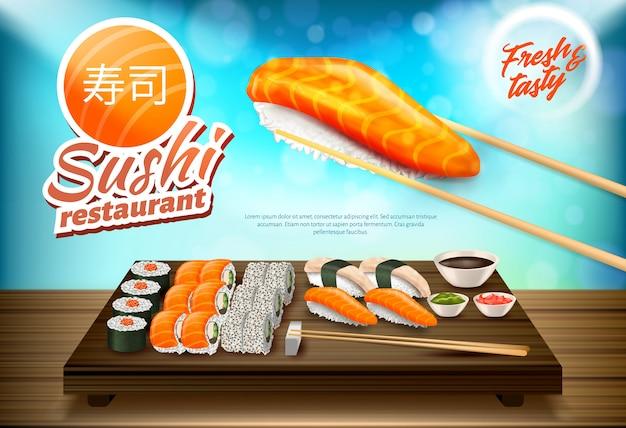 Sushi und rollen eingestellt, traditionelle küche von japan