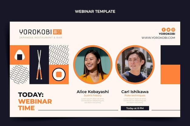 Sushi-webinar im flachen design