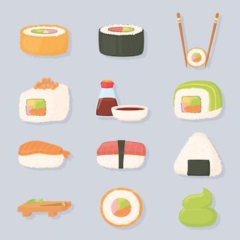 Sushi zeit sauce forelle fisch, thunfisch, lachs und kaviar illustration