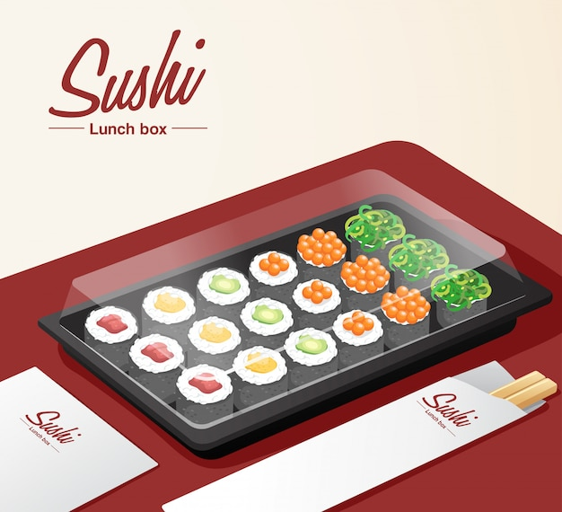 Sushi zum mitnehmen mit tablett, essstäbchen und serviette auf rotem tisch
