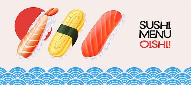 Sushirolle auf hintergrund der japanischen art