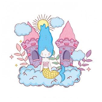 Süße Meerjungfrau mit Burg in der Wolke