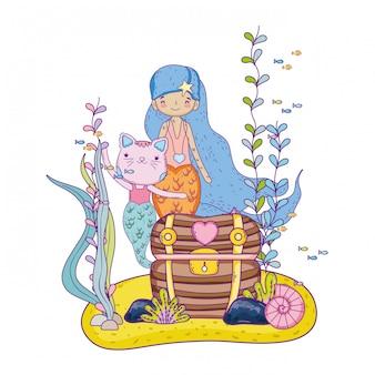 Süße Schnurrbart und Meerjungfrau mit Schatztruhe