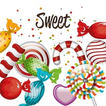 Süße Süßigkeiten Lollipop Zuckerrohr traditionelles Design