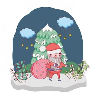 Süße Weihnachten Weihnachtsmann mit Tasche in der Landschaft