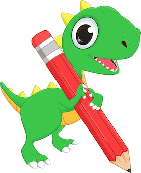 Süsser grüner Drache mit Bleistift
