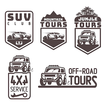Suv 4x4 offroad-reise-tour-club symbol logo vorlage vektor