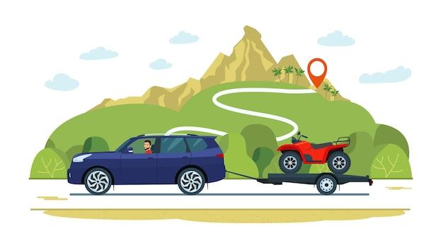 Suv-auto mit einem fahrer zieht einen anhänger mit einem atv.