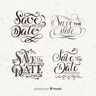 Sve die vintage beschriftungssammlung des datums