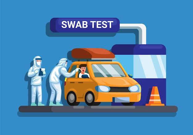 Swab-test zum auto-drive-thru-konzept in flachem cartoon