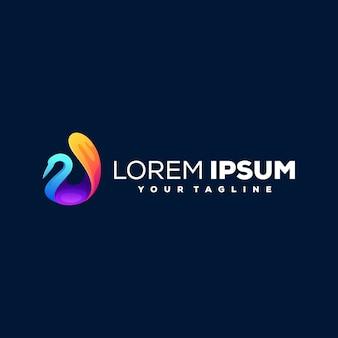 Swan animal gradient logo design Premium Vektoren
